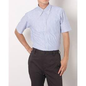 形態安定ノーアイロン 半袖 ビズポロ ニットシャツ ボタンダウン (ブルー)
