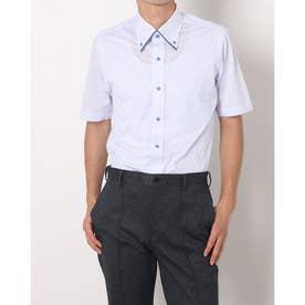 形態安定ノーアイロン 半袖 ビズポロ ニットシャツ マイターボタンダウン (ライトブルー)