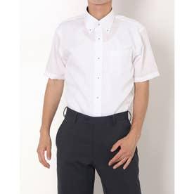 形態安定ノーアイロン 半袖ビジネスシャツ ボタンダウン (ホワイト)