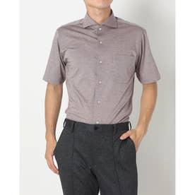 形態安定ノーアイロン 半袖 ビズポロ ニットシャツ ホリゾンタルワイド (ブラウン)