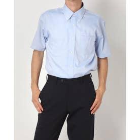 形態安定ノーアイロン 半袖ビジネスシャツ ボタンダウン (ブルー)
