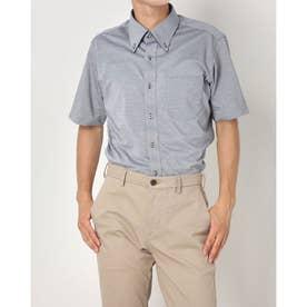 形態安定ノーアイロン 半袖 ビズポロ ニットシャツ マイターボタンダウン (ネイビークレー)