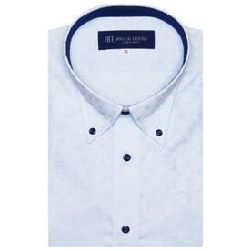 形態安定ノーアイロン 半袖ビジネスシャツ ボタンダウン 3L・4L (サックスブルー)