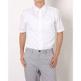 形態安定ノーアイロン 半袖ビジネスシャツ スナップダウン (ホワイト)