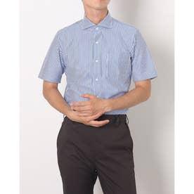 形態安定ノーアイロン 半袖 ビズポロ ニットシャツ ホリゾンタルワイド (ブルー系)