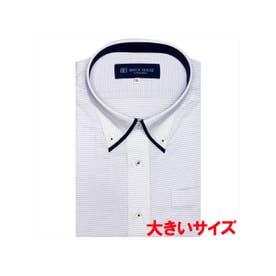 形態安定ノーアイロン 半袖 ビズポロ ニットシャツ マイターボタンダウン 3L・4L (ライトパープル)