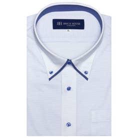 形態安定ノーアイロン 半袖 ビズポロ ニットシャツ マイターボタンダウン 3L・4L (ライトブルー)