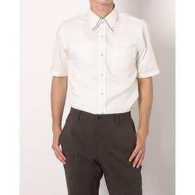 形態安定ノーアイロン 半袖ビジネスシャツ マイターボタンダウン (ライトイエロー)
