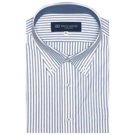 形態安定ノーアイロン 半袖 ビズポロ ニットシャツ ボタンダウン 3L・4L (ブルー)