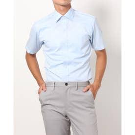 形態安定ノーアイロン 半袖ワイシャツ ワイド (サックスブルー)