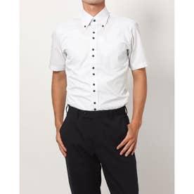 形態安定ノーアイロン 半袖ワイシャツ ボタンダウン (ライトブルー)