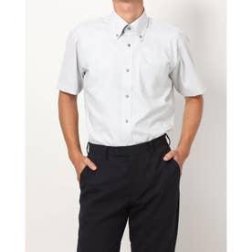 形態安定ノーアイロン 半袖ワイシャツ ボタンダウン (ライトグレー)