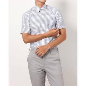 形態安定ノーアイロン 半袖ワイシャツ ボタンダウン (ブルー)