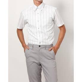 形態安定ノーアイロン 半袖ワイシャツ ボタンダウン (ライトグリーン)