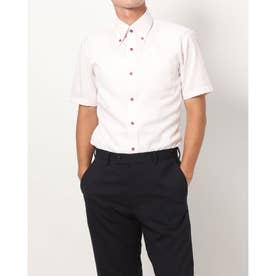 形態安定ノーアイロン 半袖ワイシャツ ボタンダウン (ライトピンク)