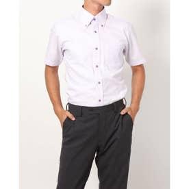 形態安定ノーアイロン 半袖ワイシャツ ボタンダウン (ライトパープル)
