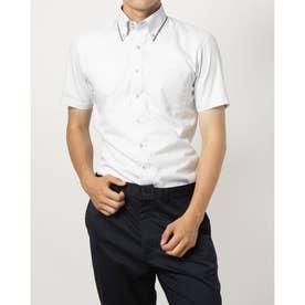 形態安定ノーアイロン 半袖 レイヤードクールインナー付きシャツ マイター ドゥエボットーニボタンダウン (ライトグレー)