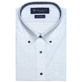 形態安定ノーアイロン 半袖ワイシャツ ボタンダウン 3L・4L (サックスブルー)