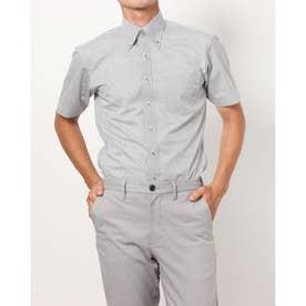 形態安定ノーアイロン 半袖 レイヤードクールインナー付きシャツ ボタンダウン (グレー)