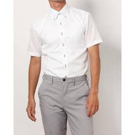 形態安定ノーアイロン 半袖 レイヤードクールインナー付きシャツ ボタンダウン (ホワイト)
