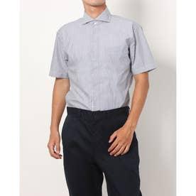 形態安定ノーアイロン 半袖 レイヤードクールインナー付きシャツ マイター ホリゾンタルワイド (ブルー)