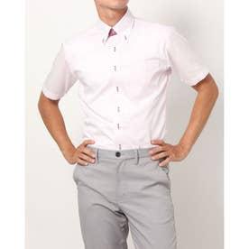 形態安定ノーアイロン 半袖 レイヤードクールインナー付きシャツ ボタンダウン (ライトピンク)