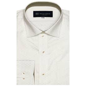 形態安定 ワイド衿 長袖ビジネスシャツ (ライトベージュ)