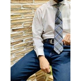 形態安定 グレー無地 ホリゾンタルワイド 長袖ビジネスシャツ (ライトグレー)