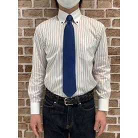 形態安定 ブルーストライプ ボタンダウン 長袖ビジネスシャツ (ブルー)