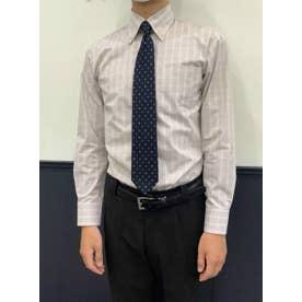 形態安定 ベージュチェック ボタンダウン 長袖ビジネスシャツ (ライトベージュ)