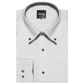 袖の長いサイズ・大きいサイズ【ディズニー】 形態安定 ボタンダウン 長袖  ビジネスワイシャツ (ライトグレー)