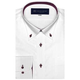 【透け防止】形態安定 ボタンダウン 長袖  ビジネスワイシャツ (ホワイト)