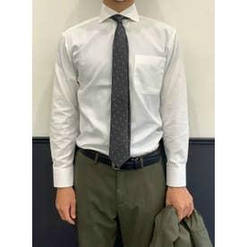 【透け防止】形態安定 ホリゾンタルワイド 長袖  ビジネスワイシャツ (ホワイト)