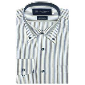 大きい・袖が長いサイズ【SUPIMA】 ボタンダウン 長袖  綿100% ビジネスワイシャツ (ブルー×グレー)
