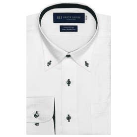 大きい・袖が長いサイズ【SUPIMA】 ボタンダウン 長袖  綿100% ビジネスワイシャツ (ホワイト)