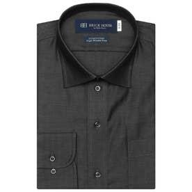 【超形態安定】 ワイド 綿100% 長袖ビジネスワイシャツ (ブラック)
