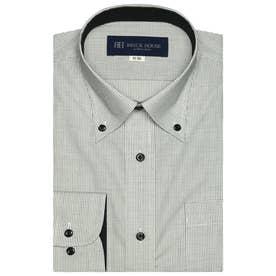 大きい・袖が長いサイズ 形態安定 ボタンダウン 長袖ビジネスワイシャツ (ブラック)