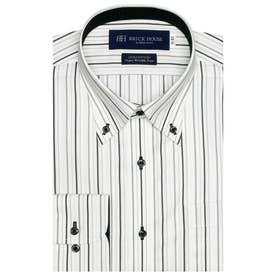【超形態安定】 ボタンダウン 綿100% 長袖ビジネスワイシャツ (グレー)