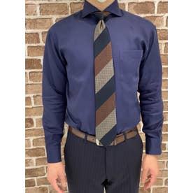 【超形態安定】 ホリゾンタルワイド 綿100% 長袖ビジネスワイシャツ (ネイビー)