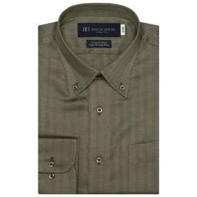 【超形態安定】 ボタンダウン 綿100% 長袖ビジネスワイシャツ (ダークブラウン)