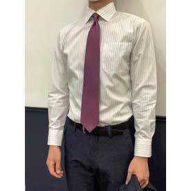 形態安定 ワイド 長袖ビジネスワイシャツ (グレー)