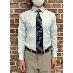 形態安定 ワイド 長袖ビジネスワイシャツ (ライトブルー)