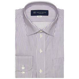 形態安定 ワイド 長袖ビジネスワイシャツ (パープル)