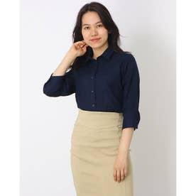 形態安定ノーアイロン レギュラー衿 やわらかガーゼ 七分袖ビジネスワイシャツ (ダークネイビー)