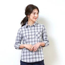 形態安定ノーアイロン レギュラー衿 やわらかガーゼ 七分袖ビジネスワイシャツ (ダークブルー)