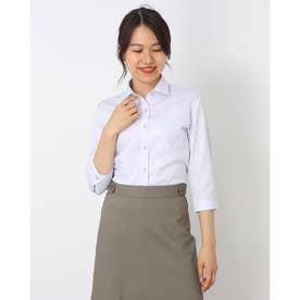 形態安定ノーアイロン ワイド衿 七分袖ビジネスワイシャツ (ライトパープル)
