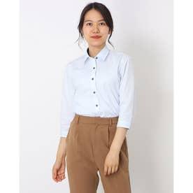 形態安定 ノーアイロン レギュラー衿 七分袖ビジネスワイシャツ (ライトブルー)