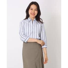 形態安定ノーアイロン スキッパー衿 七分袖ビジネスワイシャツ (ブルー)