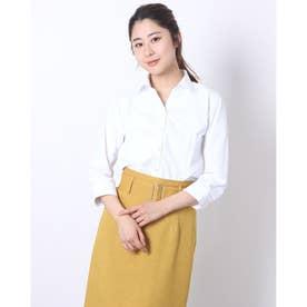 形態安定ノーアイロン スキッパー衿 白無地ベーシック 七分袖ビジネスワイシャツ (ホワイト)