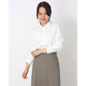 オックスストレッチ ボタンダウン衿 長袖カジュアルシャツ (ホワイト)